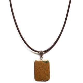 Every Morning Design Verdite with Leather Necklace