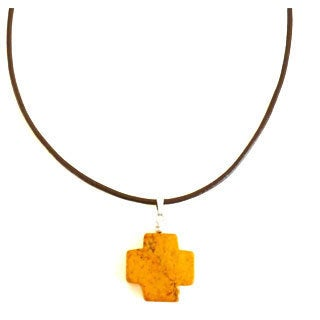 Yellow Turquoise Cross Leather Necklace