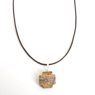 Every Morning Design Picture Jasper Cross on Leather Necklace