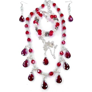 Silverplated Siam Red Crystal and White Glass Pearl Jewelry Set
