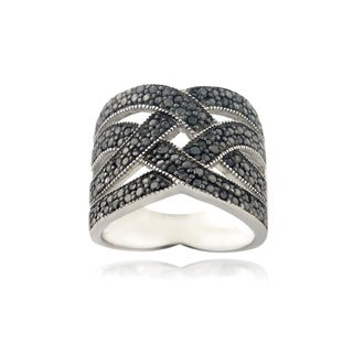 DB Designs Rhodium Plated 1/4ct TDW Black Diamond Crossover Ring