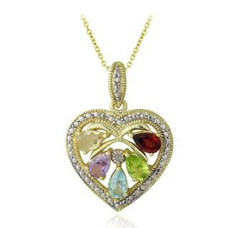 Glitzy Rocks Diamond Accent Multi-Gemstone Heart Necklace