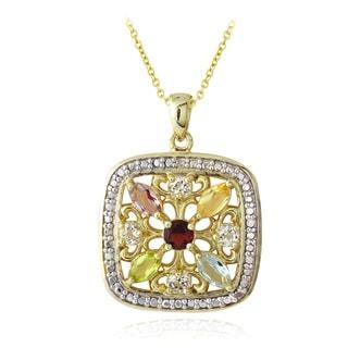 Glitzy Rocks Diamond Accent Multi-Gemstone Square Necklace