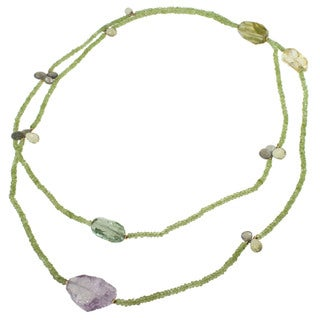 Michael Valitutti Peridot, Amethyst, Citrine, Lemon Quartz and Labradorite Bead Necklace