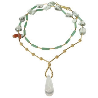 Dallas Prince Rock Crystal, Green Amethyst, Green Agate, Sunstone and Tourmalated Quartz Necklace