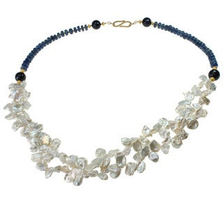 Michael Valitutti Kyanite and Pearl Necklace (8-12 mm)