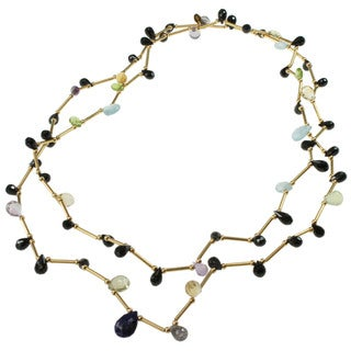 Michael Valitutti Black Spinel, Prehnite, Aquamarine, Peridot, Citrine, Ametthyst, Lapis and Quartz Necklace