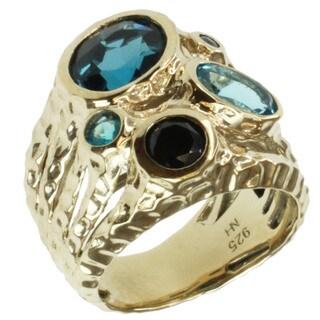 Michael Valitutti London Blue Topaz, Swiss Blue Topaz, Black Spinel, Apatite and Blue Sapphire Ring
