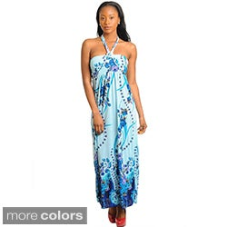 Stanzino Women's Silk Floral Halter Maxi Dress