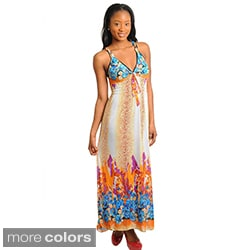Stanzino Women's V-neck Empire Printed Maxi Dress