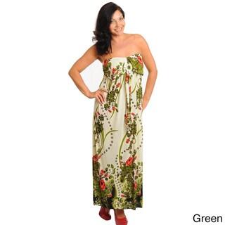 Stanzino Women's Strapless Plus Floral Maxi Dress