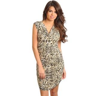Stanzino Women's Sleeveless Tan Animal Print Dress