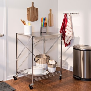 Honey-Can-Do Folding Urban Stainless Steel Work Table