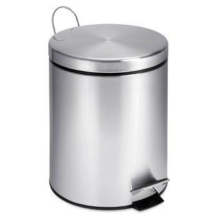 Round Stainless Steel Step Trash Can, 5-liter