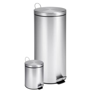 Honey-Can-Do 3- and 30-liter Round Stainless Steel Step Trash Can Combo
