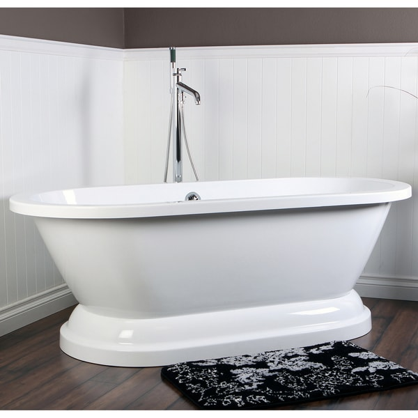 Contemporary Double Ended 67 Inch Acrylic Pedestal Bathtub
