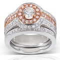 Annello 14k Rose and White Gold 1 1/4ct TDW Diamond Bridal Set (H-I, I1-I2)