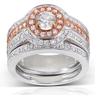 Annello 14k Gold 1 1/4ct TDW Rose Accent Halo Diamond Bridal Set (H-I, I1-I2)