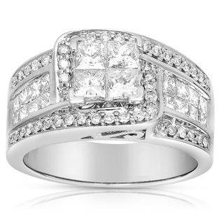 Eloquence 14k White Gold 1 3/4ct TDW Princess Diamond Engagement Ring (G-H, I1-I2)