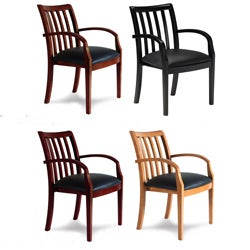 Mayline Mercado Leather/ Wood Slatted Guest Chairs (Set of 2)
