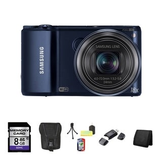 Samsung WB200F Smart 14.2MP Cobalt Black Digital Camera 8GB Bundle