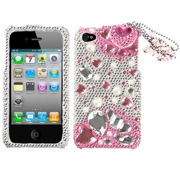 INSTEN Pink Romance 3D Diamante Phone Case Cover for Apple iPhone 4/ 4S