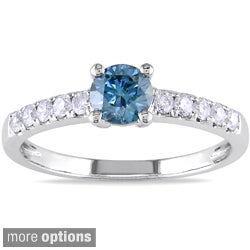 Miadora 14k White Gold 3/4ct TDW Blue or Pink Solitaire Diamond Ring (I1-I2)