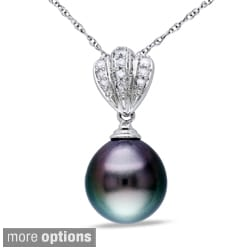 Miadora 10k White Gold Tahitian Black Pearl and Diamond Necklace (9-9.5 mm)