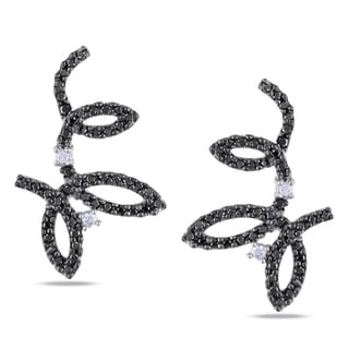 Miadora 14k White Gold 5/8ct TDW Black and White Diamond Earrings