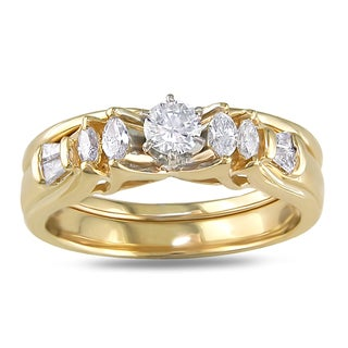Miadora 14k Yellow Gold 1/2ct TDW Diamond Bridal Set (G-H, SI1-SI2)