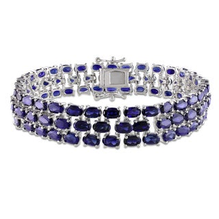 Miadora Sterling Silver Created Blue Sapphire Bracelet