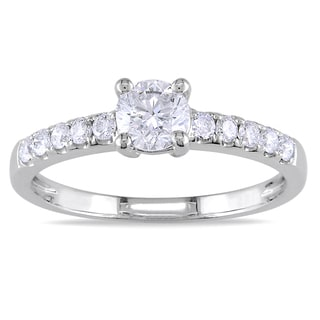 Miadora 14k White Gold 3/4ct TDW Round Diamond Solitaire Engagement Ring (G-H, SI1-SI2)