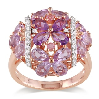 Miadora Rose Plated Silver Amethyst, Sapphire and Diamond Ring