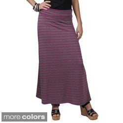 Journee Collection Juniors Fold-over Striped Maxi Skirt