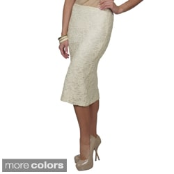 Journee Collection Women's Lace Detail Straight Skirt