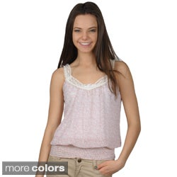 Journee Collection Juniors Smocked Waist Lace Trim Sleeveless Top