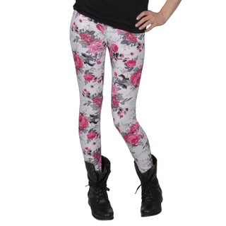 Journee Collection Juniors Rose Pattern Ankle-length Leggings