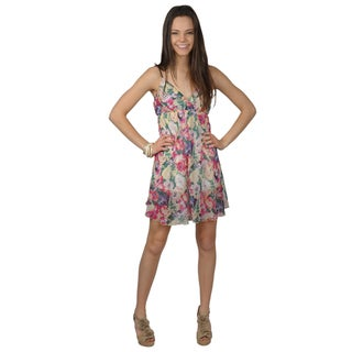 Journee Collection Juniors Empire Waist Floral Print Tunic Dress