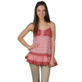 Journee Collection Juniors Tiered Button Detail Spaghetti Strap Top