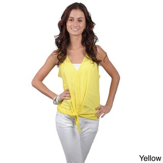 Journee Collection Juniors Solid Sleeveless Sheer V-Neck Top