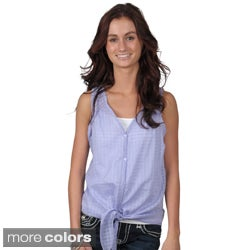 Journee Collection Juniors Sleeveless Button-Up Top with Tie Accent