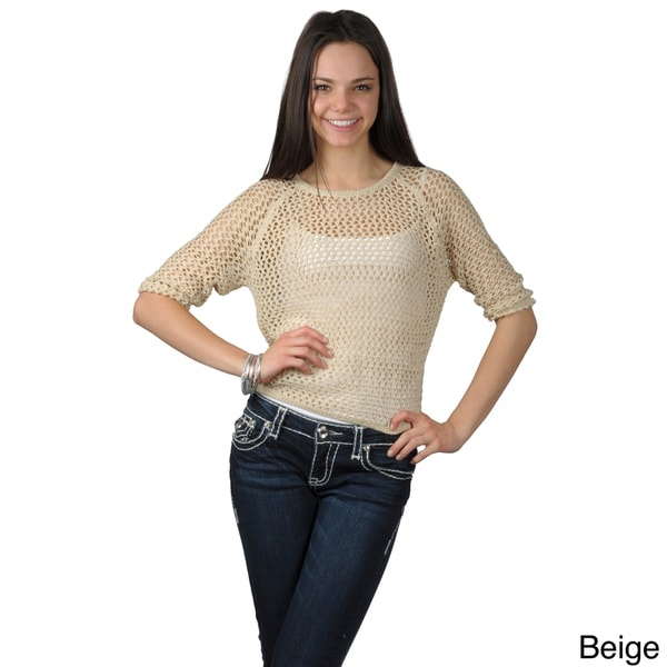 Journee Collection Women's Long Sleeve Crochet Top