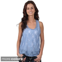 Journee Collection Juniors Sleeveless Scoop Neck Lace Tank Top