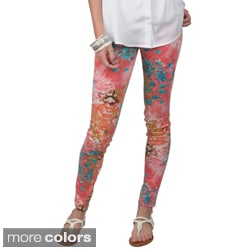 Journee Collection Women's Stretchy Floral Print Pants