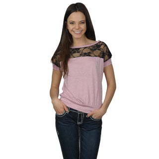 Journee Collection Juniors Banded Lace Detail Short-sleeve Top