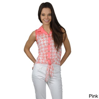 Journee Collection Juniors Lightweight Sleeveless Button-up Top