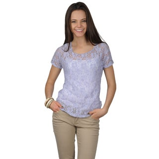 Journee Collection Juniors Lace Detail Scoop Neck Top