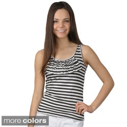 Journee Collection Junior's Striped Sleeveless Ruffled Top