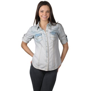 Journee Collection Juniors Long Sleeve Fitted Denim Top