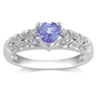 Miadora Sterling Silver Tanzanite and Diamond Ring